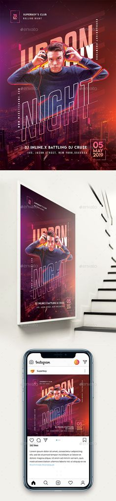 Urban Night Party Flyer #electro #music Graphic Design Print, Graphic Design Typography, Concert Flyer, Poster Layout, Publication Design, Party Flyer, Social Media Design, Magazine Design, Flyer Template