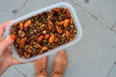 with almond butter on top: Pumpkin granola
