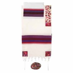 Yair Emanuel Colorful Matriarchs Cotton Embroidered Tallit by World of Judaica. $240.00. This abstract floral theme depicting the four Jewish Matriarchs is yet another piece of wonder from Yair Emanuel. Get lost in your prayers even further with this astonishing use of color designed to enhance for the beauty and the deep meaning of your religious practices. Using several colors of silk to hand embroider on raw silk, the four corners of the prayer shawl symbolically and a...