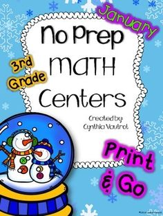 I understand how very valuable every bit of planning time is.  This NO PREP MATH CENTERS unit is a breeze to get ready for your math centers each week.  There are games, interactives, foldables, Scoot games, BUMP, and much more included in this unit.  To make it even more user friendly, there is no colored ink to be found anywhere other than the cover page!   #noprep #math #centers #January #printandgo #3rdgrade #TPT