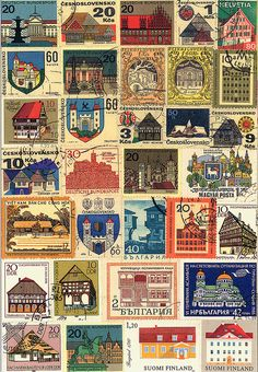 MyCollection-002 by b-island, via Flickr Postage Stamp Design, Postage Stamps, Free Printable Art, Printable Stickers, Journal Stickers, Scrapbook Stickers, Aesthetic Stickers, Mail Art, Stamp Collecting