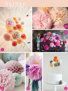 Bridal Inspiration Boards ~ Pom Poms, Pin Wheels and Paper Garlands Wedding Themes, Wedding Designs, Wedding Blog, Wedding Decorations, Dress Wedding, Wedding Ideas, Diy Flowers, Paper Flowers, Honeycomb Decorations