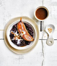 black rice and coconut pudding with caramel bananas