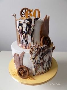 Animals is hand painted on fondant. Country Birthday Cakes, 18th Birthday Cake, Birthday Cakes For Women, Cowgirl Cakes, Western Cakes, Cow Cakes, Cupcake Cakes, Cake Decorating Amazing, Barn Cake