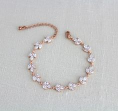 Rose gold bracelet, Bridal bracelet, Bridal jewelry, Rose gold jewelry, Tennis bracelet, Simple bracelet, Bridesmaid jewelry, CZ bracelet by treasures570 on Etsy