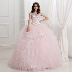 2016 Princess Ball Gown Quinceanera Dresses Pink Ruffles Tulle Crystal Beaded Sweet 16 Dress Open Back Masquerade Prom Gowns
