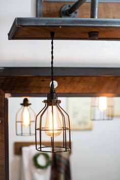 Rustic Industrial Light - Steel and Barn Wood Vanity Light (Cage Shade) w/bulbs Rustic Mirrors, Rustic Chandelier, Rustic Doors, Rustic Lighting, Industrial Lighting, Rustic Industrial, Modern Rustic, Farmhouse Lighting, Rustic Signs
