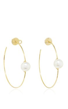 These hoop earrings by Ana Khouri are rendered in yellow gold, each accented with single Australian pearls. Preorder now on Moda Operandi. Cute Jewelry, Pearl Jewelry, Jewelry Accessories, Jewelry Design, Diamond Hoop Earrings, Dangle Earrings, Australian Pearls, Clutch, Designer Earrings