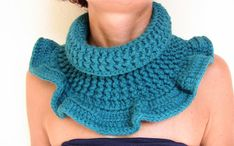 Crochet scarf  Cowl turquoise  Winter accessories by morenamacrame