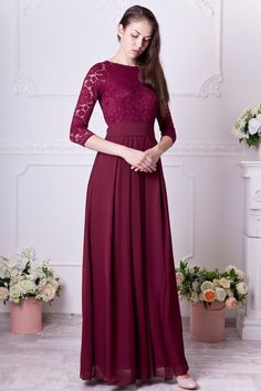 b308fc322 Burgundy bridesmaid dress long. Floral lace formal gown with sleeves.  Modest evening dress plus size. 3/4 sleeves mother of the bride dress