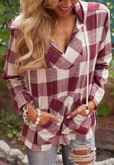 Stylish Buffalo Plaid Hooded Long Sleeve Gingham Slit Women's Hoodie #Buffalo #Plaid #Pullover