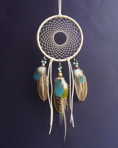 This unique dream catcher / home decor is made of natural pheasant feathers, sky blue and moss green parrot feathers, natural black&white rooster
