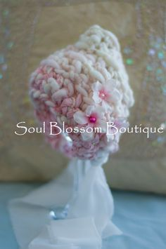 Professional Photography Prop.  Croched Bonnet Style New Born Hat, made of hand died Merino Yarn. 52.00, via Etsy.