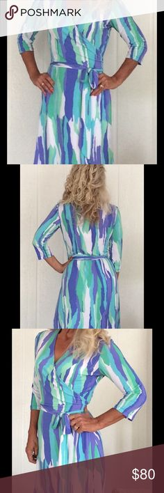 🌺🌺TORI RICHARD HAWAIIAN DRESS🌺🌺 Indescribably beautiful authentic Tori Richard Hawaiian wrap dress!  Beautiful shades of blues, greens and purples whisk you off straight to Oahu!  Super comfortable wrap style dress tags sized large but really can fit all sizes!  I'm a small and I ADORE this dress!  95% polyester, 5% spandex for beautiful drape!  3/4 length sleeve.  Double stitching throughout, no holes, rips, stains or tears.  Superior condition!  MADE IN HAWAII!!! Tori Richard Dresses
