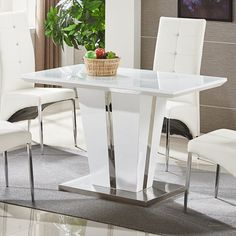 Small Rectangular Dining Room Table Awesome Memphis Glass Dining Table Small In White Gloss and Chrome Glass Dining Table, Small White Kitchens, Glass Dining Room Table, White Kitchen Bar Stools, Rectangular Dining Room Table, Small Dining Table, White Kitchen Table, Glass Top Dining Table, Dining Table