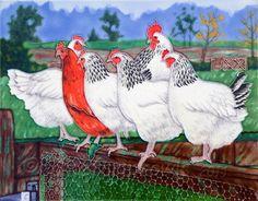 Large Ceramic Light sussex Tile - Home Farm Fowls