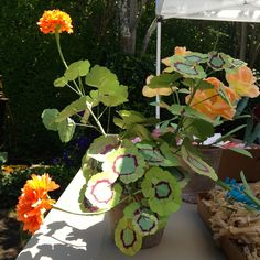 The Green Vase- Potted Geraniums by Livia Cetti (paper flowers)