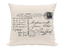 Post Card Pillow Cover Blue and White Pillow  by atreasuredplace, $16.00