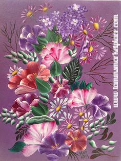 "This purple themed acrylic framed painting is on canvas board and measures 11.5"" wide by 14.75"" tall. So many pretty flowers are painted with their leaves and stems. Pinks, purples, and different shad"