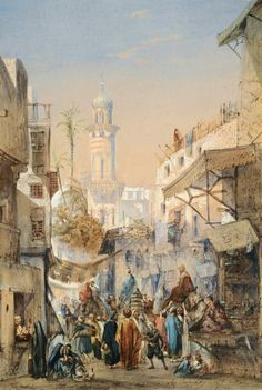A Street in Cairo 1858  By Louis-Amable Crapelet - French 1822 - 1867  Watercolor , 56,5 x 38,5 cm