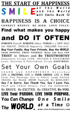 The Happiness Manifesto is your guide to Starting the Happiness not only in your life, but in the lives of those around you. You can change the WORLD, one smile at a time! http://startofhappiness.com