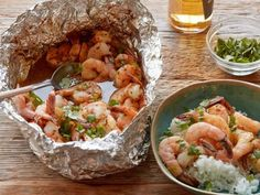 Get Healthy Chipotle Beer-and-Butter Shrimp Foil Pack Recipe from Food Network