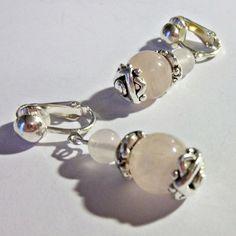 CLIP ON 1 inch ROSE QUARTZ Handcrafted USA Non-Pierced Dangle Drop Earrings Z344 #Handmade #DropDangle