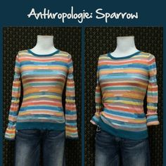 """Anthro """"Sheerstripe Pullover"""" by Sparrow Pullover style, full length sleeves, cotton/spun rayon blend.  Great condition. Fitted.  **  Prices are as listed- Nonnegotiable.  I'm happy to bundle to save shipping costs, but there are no additional discounts.  No trades, paypal or condescending terms of endearment  ** Anthropologie Sweaters Crew & Scoop Necks"""