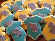 Onesie Cookies, Elephant Cookies, Wedding Cookies, Baby Onesie, Cookie Decorating, Donuts, Cakes, Animal, Ideas