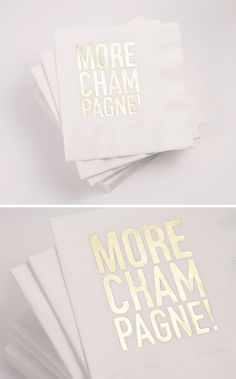 More Champagne Party Napkins (White/Gold)