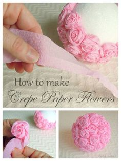 Crepe Paper Flowers for An Elegant Craft Idea - creatively southern Need to make 2 of these for the cake&treats table! Crepe Papieren bloemen for a elegante Craft Idea - creatief Zuidelijke Flores de papel crepe/How to make crepe paper flowers My latest f Paper Flowers Craft, Flower Crafts, Diy Flowers, Fabric Flowers, Elegant Flowers, Paper Flowers How To Make, Paper Flower Ball, Paper Flower Garlands, Tissue Flowers