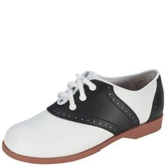 Classic saddle oxford styling makes this a perfect shoe for school uniforms or basic casual wear. It features a durable faux leather upper with perforation details and laces for a snug fit, lightly padded insole for comfort, and a flexible and skid resistant outsole. Manmade materials. All Smartfit shoes are built with Tried and True Technology: wiggle room for toes, easy on/easy off and durable design.