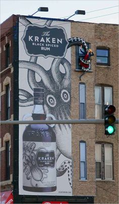 3D kraken rum advertisement.