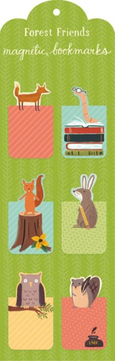 Forest Friends Magnetic Bookmark. 6 Exemplare