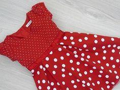 Červené puntíkované šaty, velikost 98/104