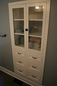Low Country Living: Alabama Cottage...built in cabinet for my hallway instead of a bulky linen closet.