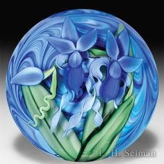 Steven Lundberg Glass Art 2002 two iris compound magnum paperweight, by Justin Lundberg. by Steve & Ola Lundberg