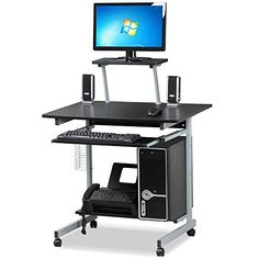 Yaheetech Mobile Computer Desks with Keyboard Tray, Printer Shelf and Monitor Stand Small Space Home Office Furniture (Black) -  http://www.wahmmo.com/yaheetech-mobile-computer-desks-with-keyboard-tray-printer-shelf-and-monitor-stand-small-space-home-office-furniture-black/ -  - WAHMMO