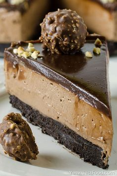 NO BAKE NUTELLA CHEESECAKE - Easy, rich and decadent, this cheesecake makes a beautiful, elegant and easy Ferrero Rocher Cheesecake Recipe for any special occasion! desserts, No Bake Nutella Cheesecake Ferrero Rocher Cheesecake, No Bake Nutella Cheesecake, Cheesecake Recipes, Tiramisu Cheesecake, No Bake Desserts, Easy Desserts, Dessert Recipes, Baking Desserts, Healthy Desserts