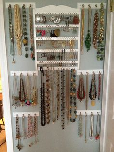 Jewelry wall The Flower City Fashionista: Obscenity *I might actually wear my jewelry (Diy Necklace Holder) Jewelry Wall, Jewelry Hanger, Jewelry Box, Craft Jewelry, Body Jewelry, Custom Jewelry, Jewlery, Jewelry Design, Wall Organization