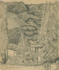 'Landscape with mountains', Pencil by Martiros Saryan (1880-1972, Russia)