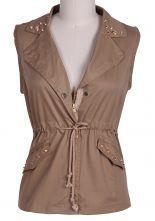 Khaki Sleeveless Notch Lapel Rivet Drawstring Outerwear $20.97  #SheInside