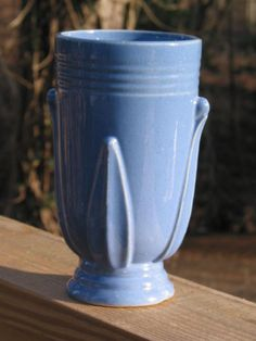 Art Deco USA pottery VASE robin egg blue embossed by Junctique