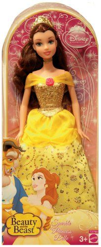 Disney Sparkling Princess Belle Doll. Relive all the magic from the classic Disney film Beauty and the Beast. Girls can recreate their favorite Disney fairytale moments. Take home your favorite Disney princess, Belle and her adorable friends. Features Belle dressed in her beautiful sparkling iconic ball gown with glitter detail and sequins.