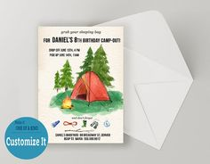 Hey, I found this really awesome Etsy listing at https://www.etsy.com/listing/288503561/camping-birthday-invitation-nature