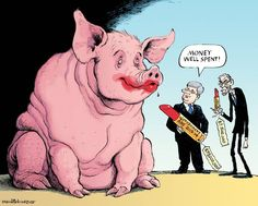 Money well spent! Harper - that's OUR money, not yours. (David Parkins for The Globe and Mail)