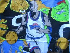"""Vintage Fabric  1996 SPACE JAM MICHAEL JORDAN WB TUNE SQUAD 36 X 45 """" NOS BUGS #WarnerBros Tune Squad, Space Jam, Vintage Fabrics, Fabric Panels, Michael Jordan, Bugs, Fictional Characters, Ebay, Art"""