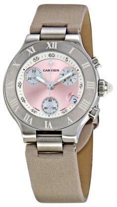 Cartier Women's W1020012 Chronoscaph Pink Sunburst Dial Watch
