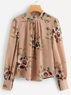 Shop Plus Button Keyhole Floral Print Blouse online. SHEIN offers Plus Button Keyhole Floral Print Blouse & more to fit your fashionable needs. Trendy Outfits For Women, Blouses For Women Cute, Stylish Outfits, Blouse Styles, Blouse Designs, Fashion Clothes, Fashion Outfits, Womens Fashion, Hijab Fashion