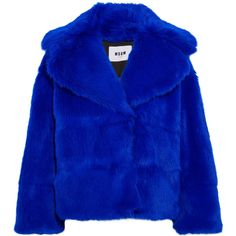MSGM Faux fur jacket ($850) ❤ liked on Polyvore featuring outerwear, jackets, msgm, blue jackets, royal blue jacket, fuzzy jackets and blue faux fur jacket